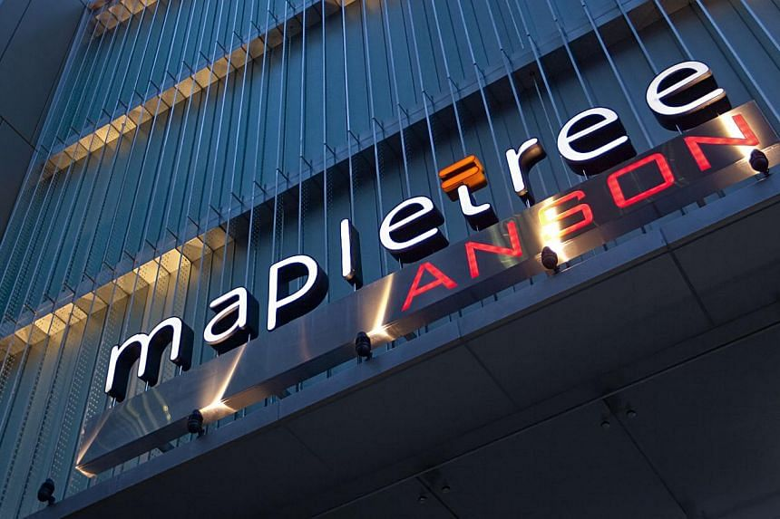 Mapletree Anson, a 19-storey office tower in Singapore's Central Business District.Singapore shares fell on Thursday, snapping three consecutive days of gains, but Mapletree Commercial Trust outperformed the market after it reported a 14 per