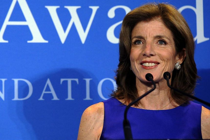 Caroline Kennedy, daughter of late United States (US) President John F Kennedy, speaks at the 2013 John F Kennedy Profile in Courage Award ceremony at the Kennedy Library in Boston, Massachusetts, on May 5, 2013. The nomination of Ms Kennedy as ambas