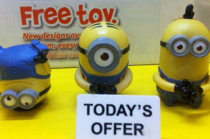 The sale of the last set of three minions - yellow, pill-shaped creatures which spew gobbledy-gook in the movies - started at 11am on Thursday.-- ST PHOTO: DIOR LAI