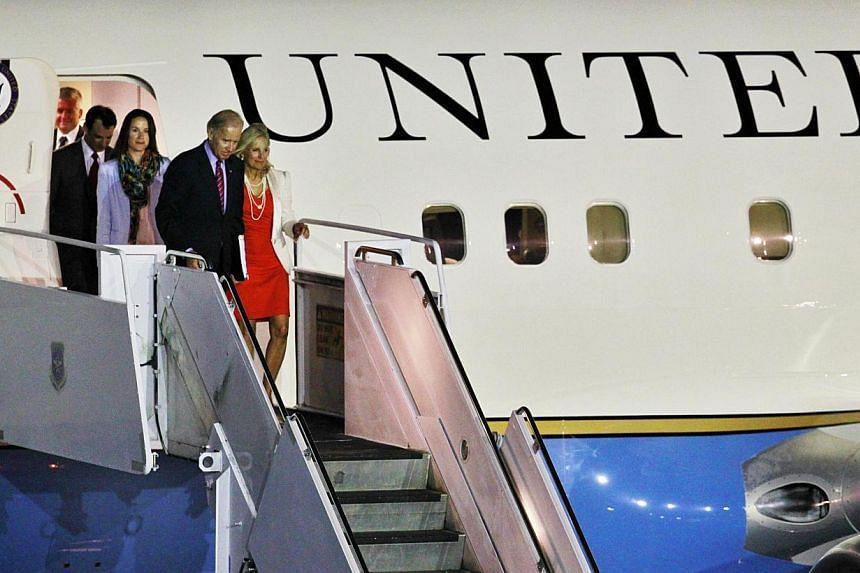 US Vice-President Joe Biden's wife Dr Jill Biden arrive in Singapore at Paya Lebar Airbase on July 25, 2013. -- PHOTO: KEVIN LIM