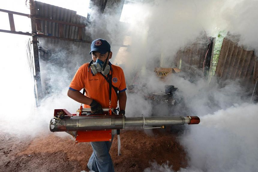 A worker of the Contingencies Committee fumigates against the dengue fever mosquito, Aedes aegypti, in Tegucigalpa on July 25, 2012.An unusually potent outbreak of dengue fever has killed 26 people and infected nearly 40,000 more so far this ye