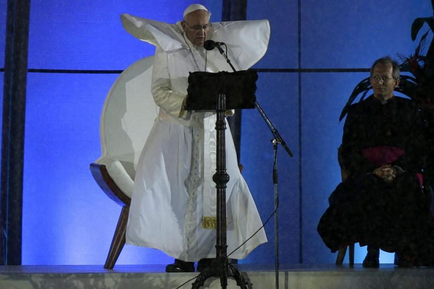 Pope Francis gives a speech during the Catholic Church's World Day of Youth at Copacabana beach in Rio de Janeiro on July 25, 2013. -- PHOTO: REUTERS