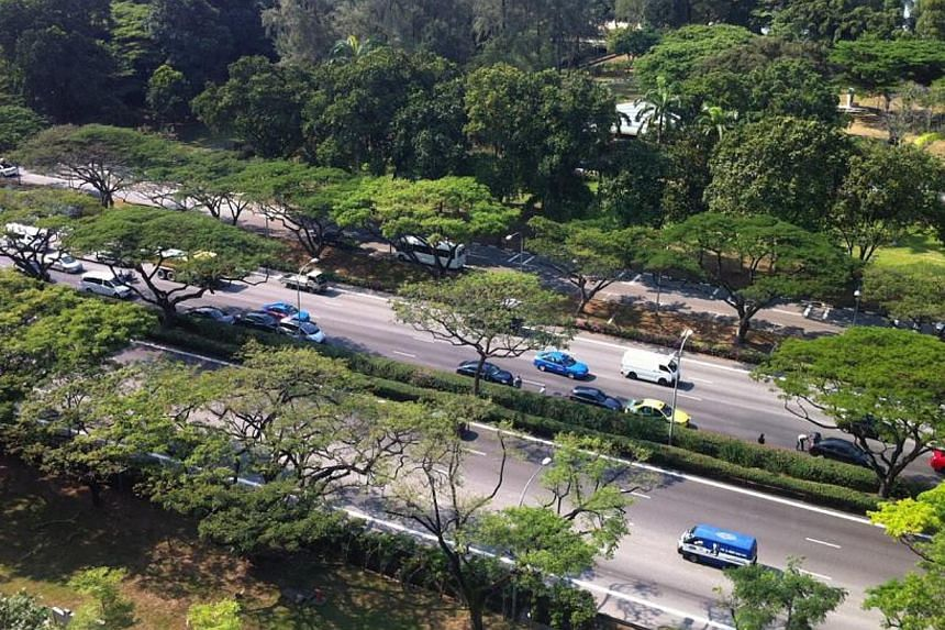 At least five cars were involved in a chain collision on the East Coast Parkway towards Tuas on Friday morning. -- PHOTO: BERNARD TAN