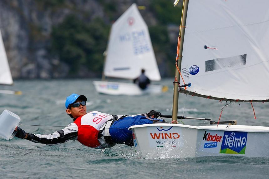 Singapore sailor Loh Jia Yi in action at the Optimist World Championships in Italy, where he led the 259-strong international fleet.