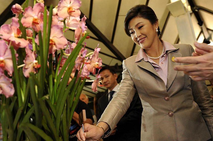 Thai Prime Minister Yingluck Shinawatra looks at the orchid, named Ascocenda Yingluck Shinawatra at Singapore Botanic Gardens on Dec 8, 2011. -- ST FILE PHOTO: NURIA LING