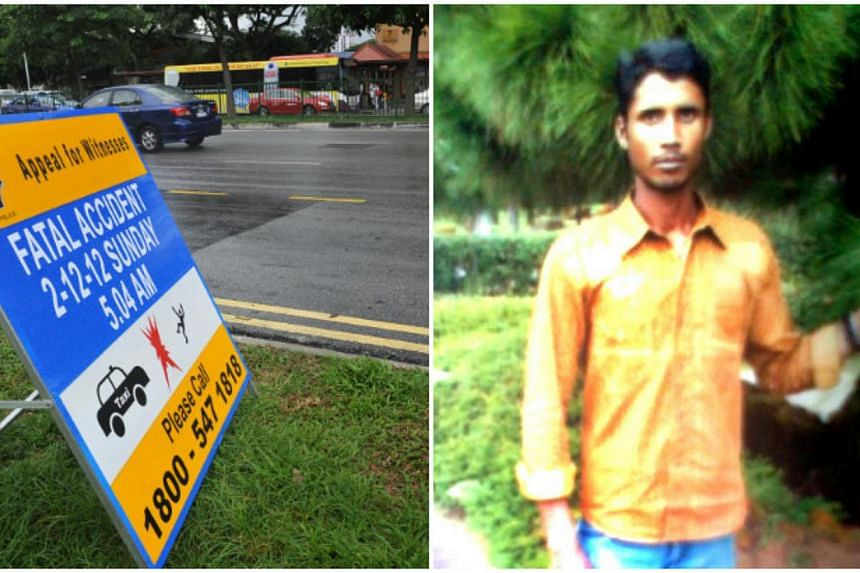 The road at Jalan Eunos (left) where Bangladeshi construction worker Abdul Hannan Md Maham Ali was killed in a hit-and-run accident while at work at around 5am on Dec 2, 2012.The cabby involved in the accident in Jalan Eunos last December has s