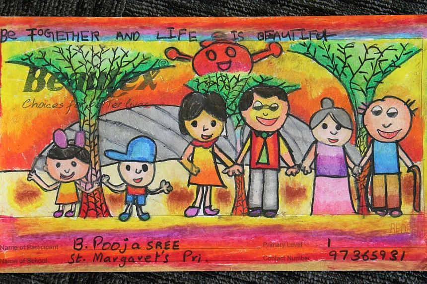 Entry for Little Red Dot-Beautex Life's Beautiful Art Competition (2013), by Poojasree Bala Murugan,Primary 1, St Margaret's Primary School. The entry won first place in the lower primary category. -- ST PHOTO: SERENE LUO