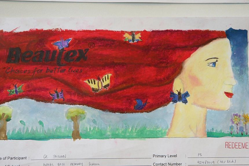 Entry for Little Red Dot-Beautex Life's Beautiful Art Competition (2013), by Ge Yaxuan, Primary 5, Naval Base Primary School. -- ST PHOTO: SERENE LUO
