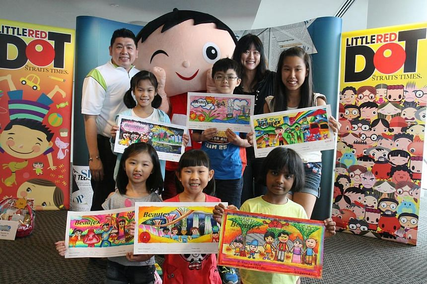 Winners of the lower primary category (front row) and upper primary category (second row) from the Little Red Dot-Beautex Life's Beautiful Art Competition (2013) pose with (back row from left) Mr Richard Sim, vice-president of Tipex, Motiva