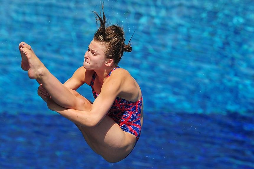Britain's Hannah Starling competes in the women's 3m springboard semi-final diving event in the Fina World Championships at the Piscina Municipal de Montjuic in Barcelona on Friday, July 26, 2013. -- PHOTO: AFP