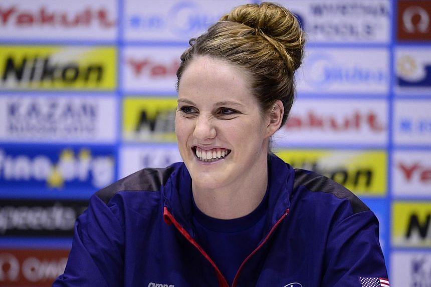US swimmer Missy Franklin gives a press conference ahead of the start of the swimming competition at the Fina World Championships at Palau Sant Jordi in Barcelona on Friday, July 26, 2013. Franklin is relishing tackling eight events when swimming's w