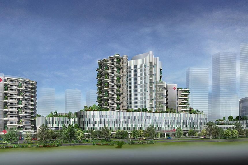Artist's impression of Ng Teng Fong General Hospital. A new queue system for patients at the upcoming Ng Teng Fong General Hospital will help cut waiting time by up to 40 per cent when the complex is completed next year. -- FILE PHOTO: JURONGHEALTH