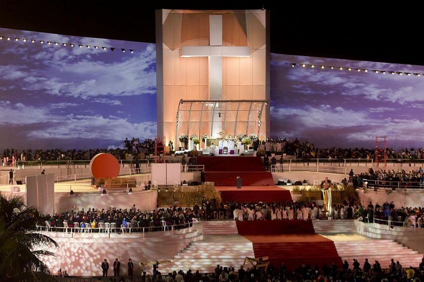 Pope Francis, on stage, participates in an evening vigil service on Copacabana beach in Rio de Janeiro, Brazil, Saturday, July 27, 2013. -- PHOTO: AP