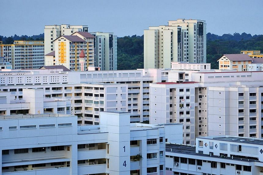 HDB flats in the Bukit Panjang area. Resale home prices slid 0.4 per cent from May to June as more buyers chose new launches over resale units. -- ST PHOTO: ALPHONSUS CHERN