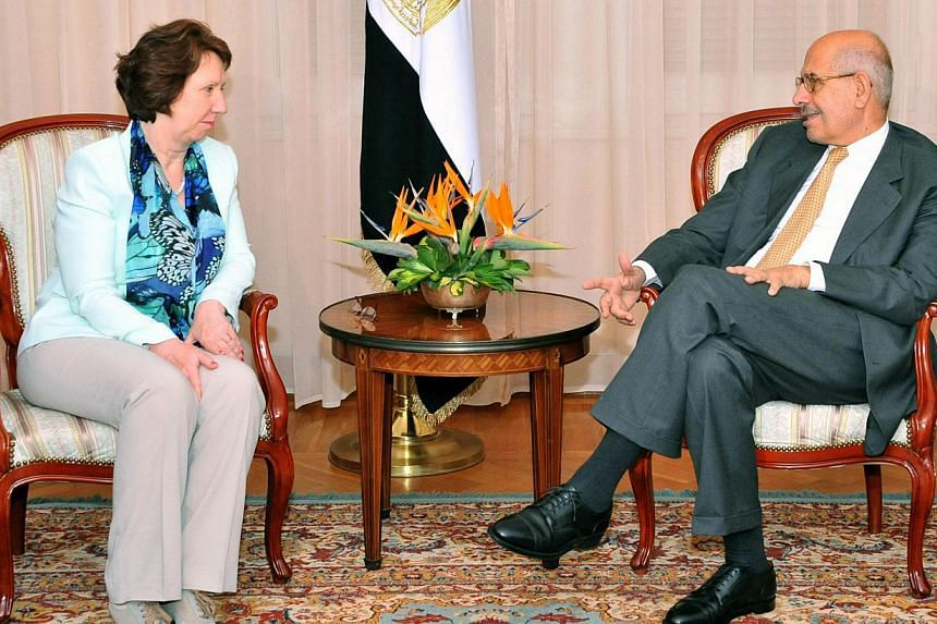 In this handout picture made available by the Egyptian Presidency on July 17, 2013, Egyptian vice president for foreign relations Mohamed ElBaradei meets with EU foreign policy chief Catherine Ashton in Cairo.European Union foreign policy chief