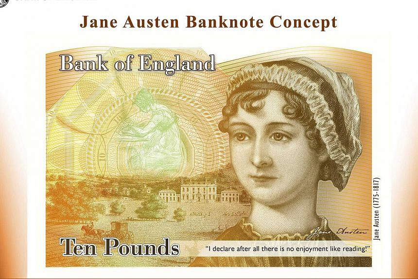 An illustration of a British ten pound Sterling banknote bearing the likeness of author Jane Austen, is seen in a picture released by the Bank of England in London on July 24, 2013. British police on Sunday arrested a 21-year-old man over a series of