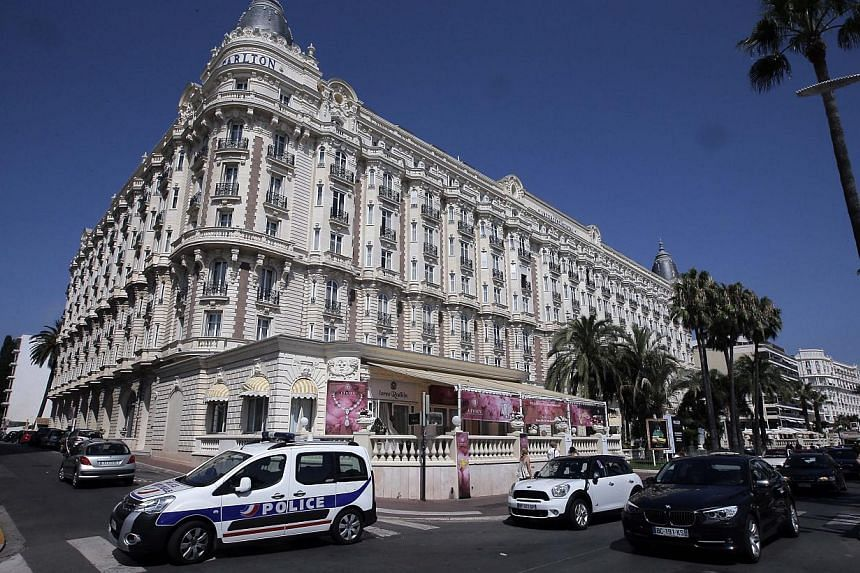 A view of the Carlton hotel, in Cannes, southern France, the scene of a daylight raid on Sunday, July 28, 2013. -- PHOTO: AP