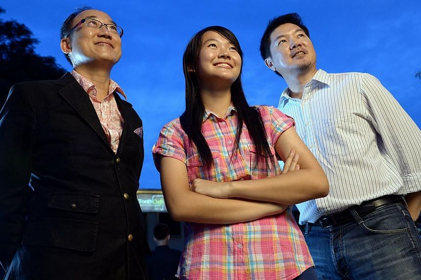 IN.Genius director Lim Seng (left) wants a bigger talent pool from which to pick Singapore's first space traveller. So far, applicants include 15-year-old student Cherie Lim (centre) and Singapore Airlines pilot Jet Tan, 45, who after 28 years of fly