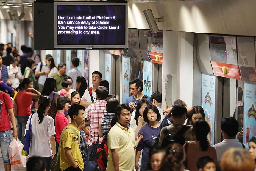 Commuters stuck at the North-East Line's Serangoon Station due to a track fault on Dec 20, 2012. A proposal for an early warning mechanism that can detect potential faults in the rail system has been awarded a grant by the National Research Fo