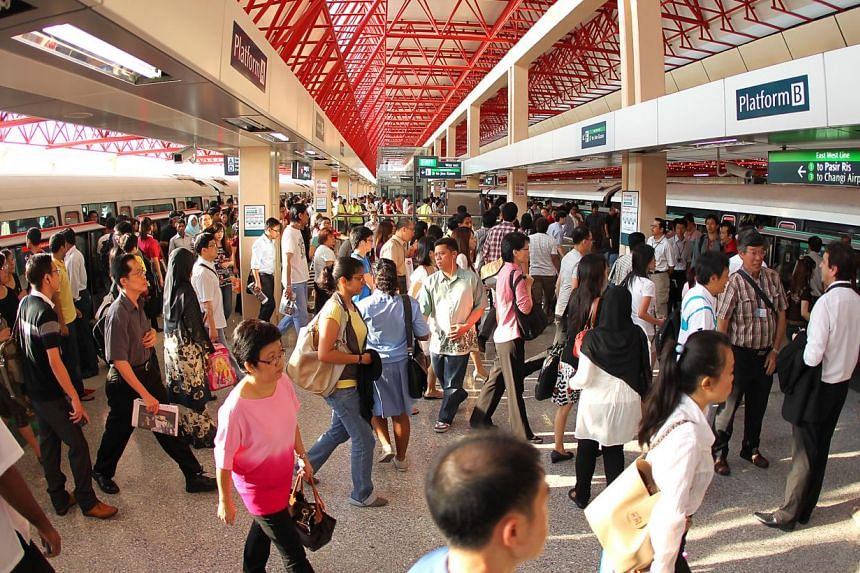 The Jurong East interchange station on May 27, 2011. Trains on the East-West line are travelling slower because of a track circuit failure, SMRT said. -- NP FILE PHOTO: JONATHAN CHOO