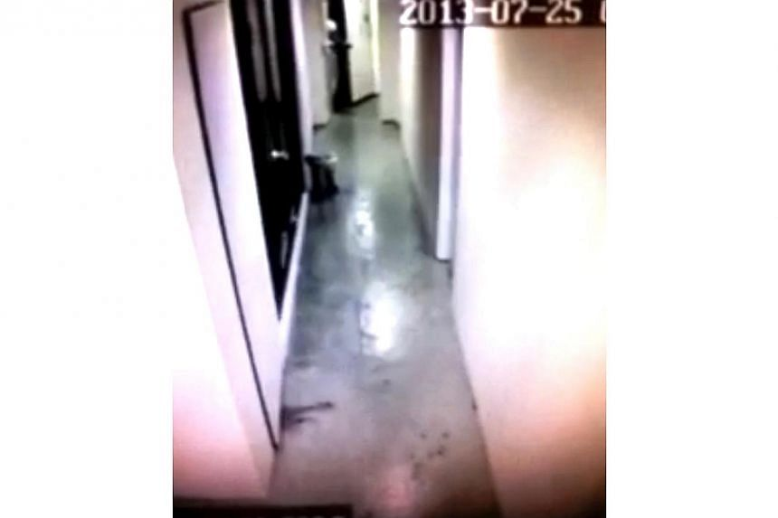 This screenshots are taken from CCTV footage. They show Dr Hannah Tan entering the lift shaft, just before tshe fell four storeys down the lift shaft.-- PHOTO:COURTESY OF MR ZURIEL BERNARDINO