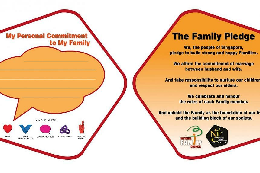 Singapore's first official family pledge was launched on Tuesday, July 30, 2013, to encourage individuals to reaffirm their commitment to their loved ones. -- PHOTO: NATIONAL FAMILY COUNCIL