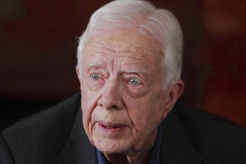 Former US President Jimmy Carter speaks during an interview with Reuters in Kathmandu on April 1, 2013. A representative for Mr Carter denied reports on Monday that he was planning to visit North Korea soon to try to win the release of an American ci