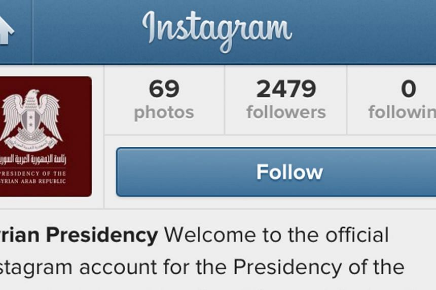 A screen grab taken on July 31, 2013 shows the Syrian presidency's official Instagram page as Syrian President Bashar al-Assad's office has used a new Instagram account to post photographs of him greeting supporters, and images of his wife Asma visit