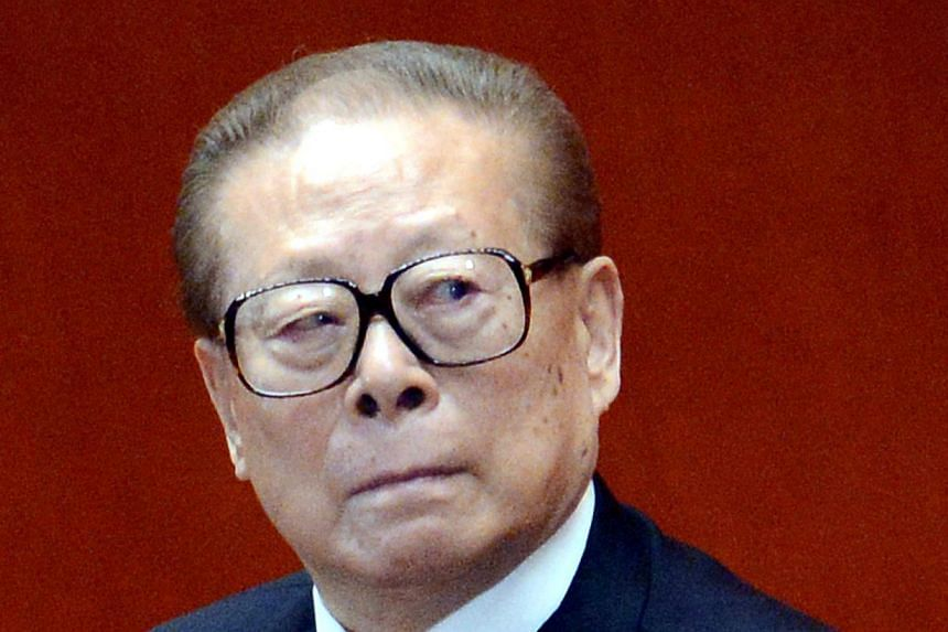 """Former Chinese president Jiang Zemin, 87, last week surfaced publicly to heap effusive praise on current leader Xi Jinping by calling him """"wise and capable"""". -- FILE PHOTO: AFP"""