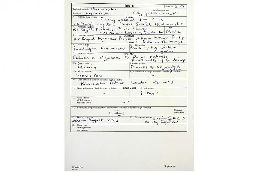 A copy of the birth register for Prince George of Cambridge is seen at Westminster Register Office in London on Friday, Aug 2, 2013. -- PHOTO: REUTERS