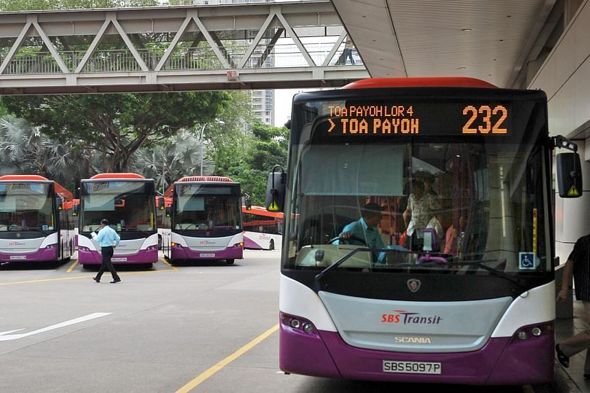 SBS Transit buses at the Toa Payoh bus interchange. An increase in bus and train fares looks unlikely this year. -- ST FILE PHOTO: ALPHONSUS CHERN