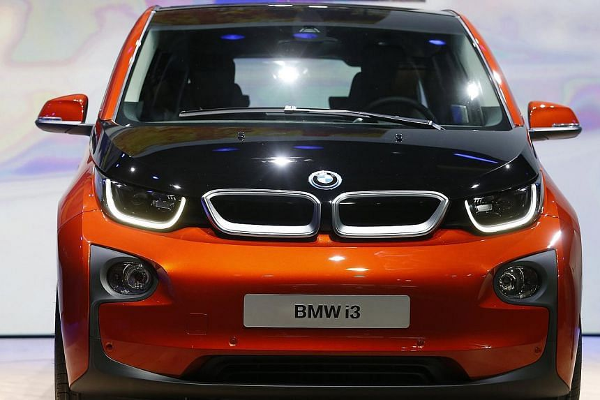 The new BMW i3 electric car is seen after it was unveiled at a ceremony in London on July 29, 2013. -- PHOTO: REUTERS