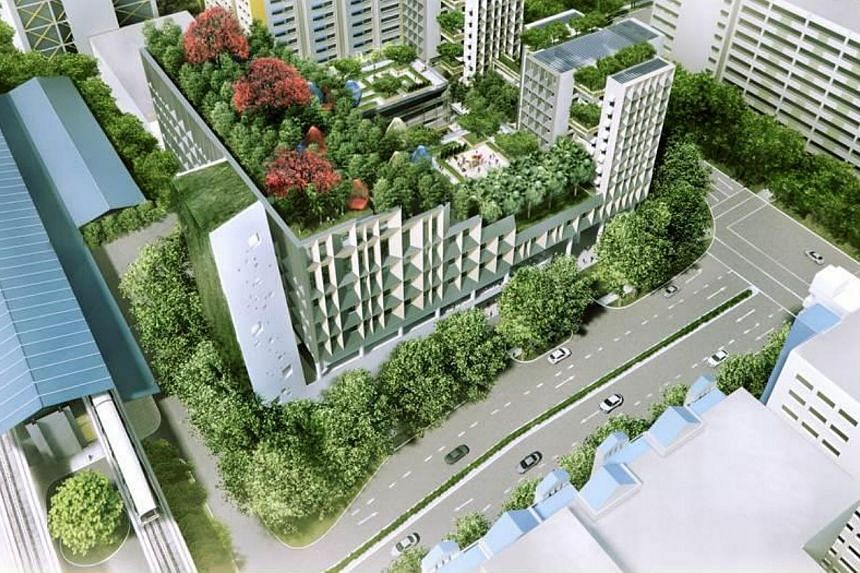 Artist's impression of the new integrated development in Woodlands. Singapore will create a new integrated complex in Woodlands with studio apartments and facilities like a hawker centre, medical centre, shops, seniors' activity centre and childcare