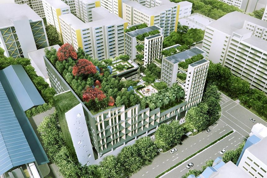 """Aerial perspective of the new integrated development in Woodlands.Woodlands' new """"vertical kampung"""" is likely to add buzz to the sleepy residential estate, its MP Ellen Lee told The Straits Times on Sunday, Aug 4, 2013. -- PHOTO: HDB"""