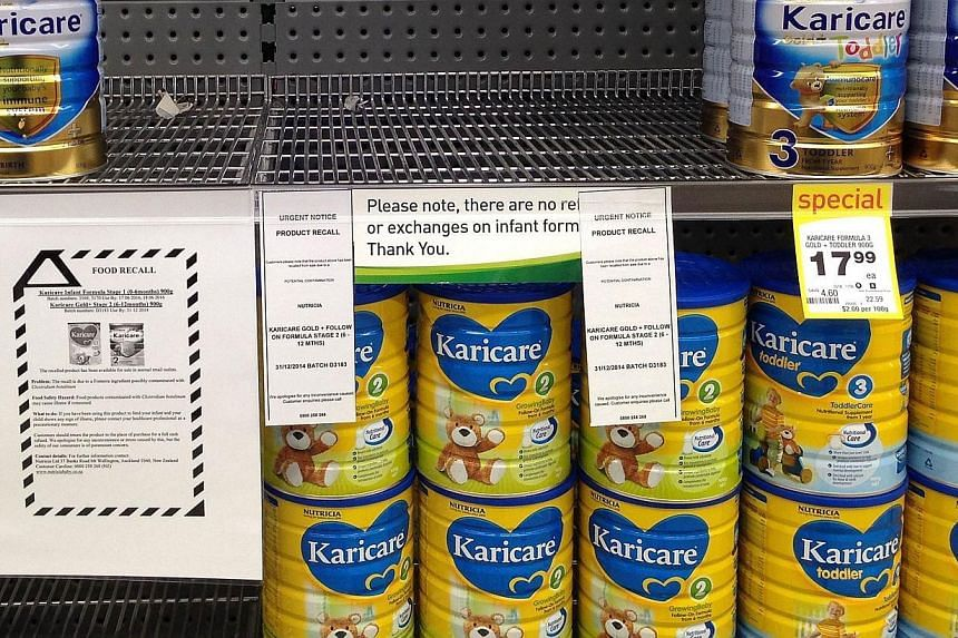 The shelves in a Wellington supermarket where a batch of baby formula made by Fonterra have been stripped clear because of suspected contamination in the product in Wellington on August 5, 2013. Fonterra revealed on Saturday that a whey product