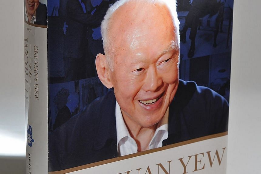 Book cover: One Man's View Of The World by Mr Lee Kuan Yew. -- ST PHOTO: ASHLEIGH SIM