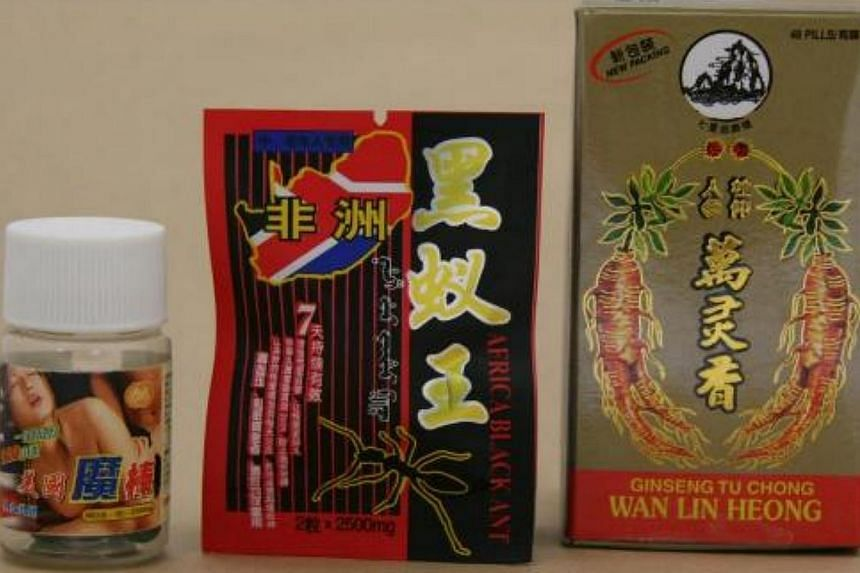 The Health Sciences Authority (HSA) on Tuesday, Aug 6, 2013, issued an advisory alerting the public about three illegal health products containing undeclared medicinal ingredients. The three are (from left) Li Long Mei Guo Mo Bang, Africa Black Ant a