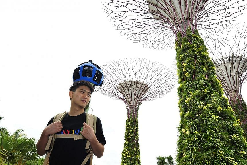 Trekker operator Dan Luo Dequan, 28, at the Gardens by the Bay. The Trekker, a backpack with a camera system, will allow Google to take panoramic shots of travel spots usually accessible only by foot.
