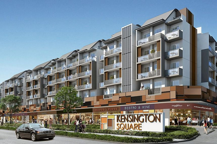 Artist's impression of Kensington Square. The developers of a freehold integrated commercial and residential development at the junction of Upper Paya Lebar Road and Jalan Lokam is starting to market the project. -- PHOTO: KENSINGTON VILLAGE