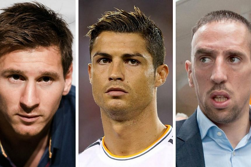 (From left) Lionel Messi, Cristiano Ronaldo and Franck Ribery will contest the title of Best Player in Europe when journalists across the continent cast their vote on August 29 in Monaco, Uefa said on Tuesday, Aug 7, 2013.-- FILE PHOTOS: AFP
