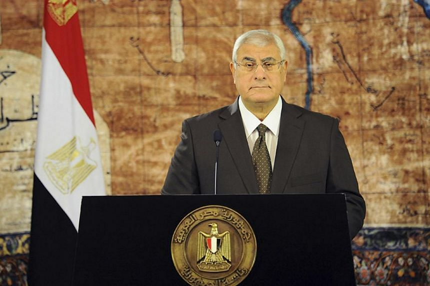 Egypt's interim President Adli Mansour speaks to the nation ahead of Eid al-Fitr celebrations, at El-Thadiya presidential palace in Cairo in this Aug 7, 2013 handout photograph provided by the Egyptian Presidency.The United States and the Europ