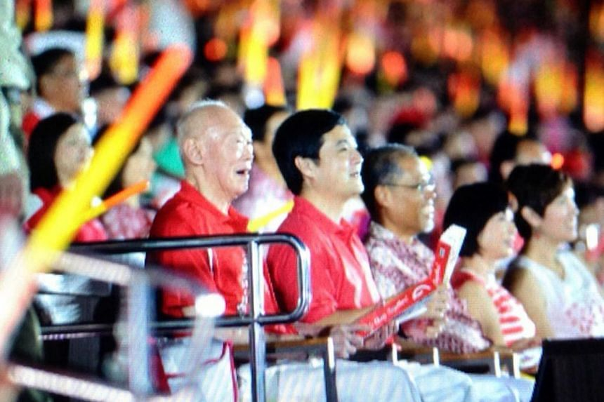 Mr Lee Kuan Yew watches the National Day Parade. -- PHOTO: ST PICTURE DESK