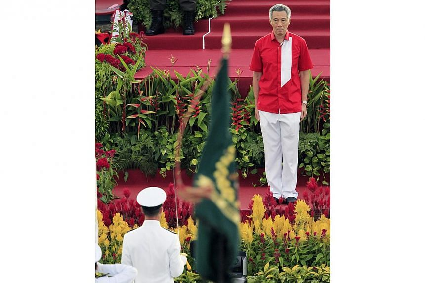 Prime MinisterLee Hsien Loong at the parade.--ST PHOTO: KEVIN LIM