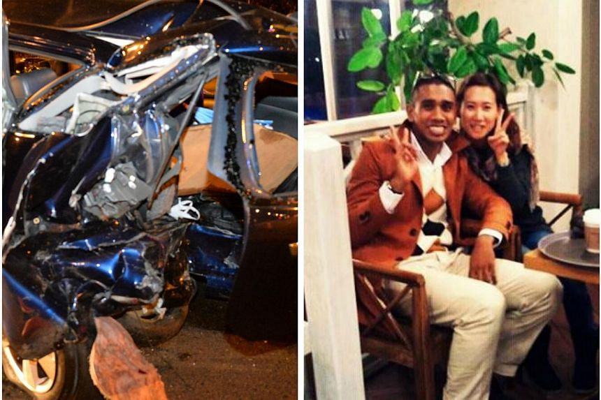 The driver of the car which crashed into another car on the road shoulder, killing four people, including Mr Amron Ayoub (left) and his Korean girlfriend Jamie Song,in an early-morning accident on the Central Expressway on Friday morning, has b