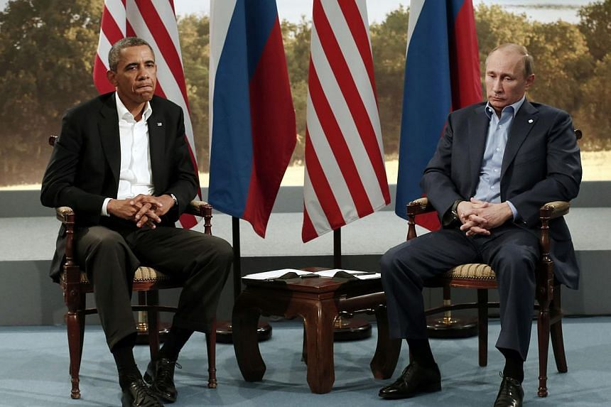 United States President Barack Obama (left) meets with Russian President Vladimir Putin during the G8 Summit at Lough Erne in Enniskillen, Northern Ireland, on June 17, 2013.Mr Obama on Friday denied he has poor relations with Mr Putin after ca