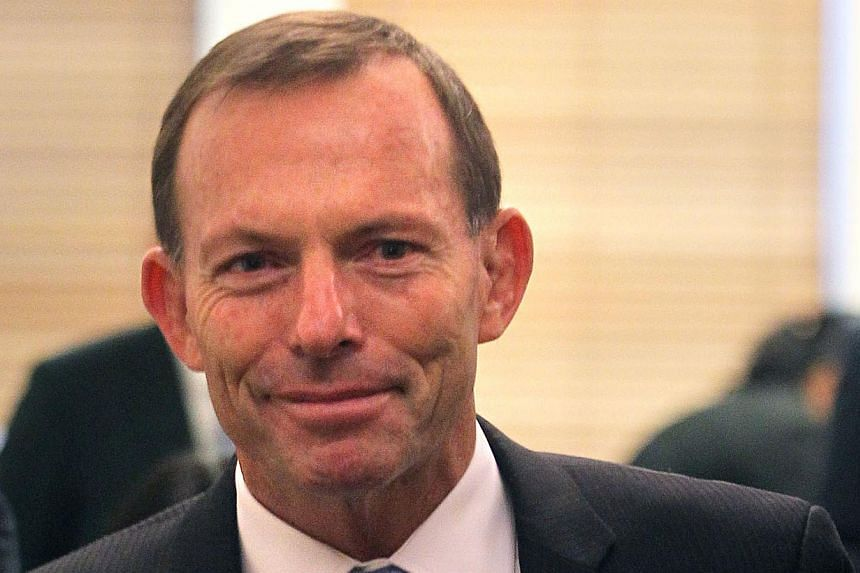 Australian opposition leader Tony Abbott after his meeting with Singapore Prime Minister Lee Hsien Loong at Parliament House in Canberra on October 11, 2012. -- ST FILE PHOTO