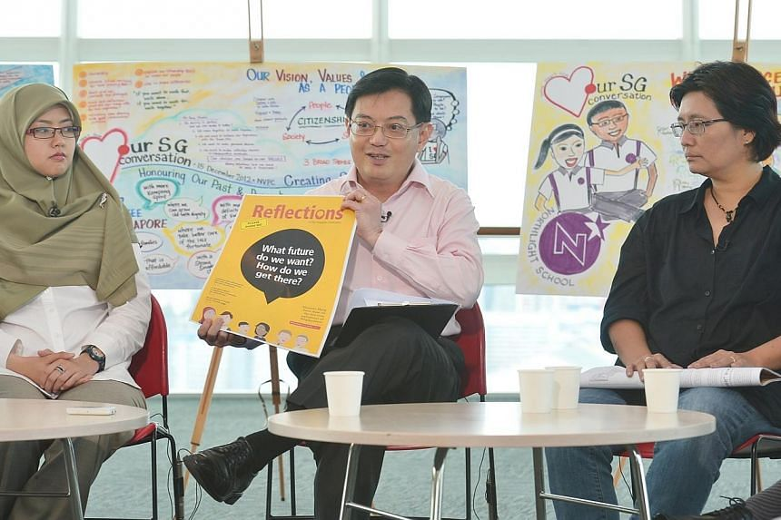 """Education Minister Heng Swee Keat at a press conference on Tuesday, Aug 6, 2013, to mark the end of the Our Singapore Conversation exercise. Keyconcerns raised by 47,000 people who took part in the year-long exercise will see a """"substantive"""" Go"""