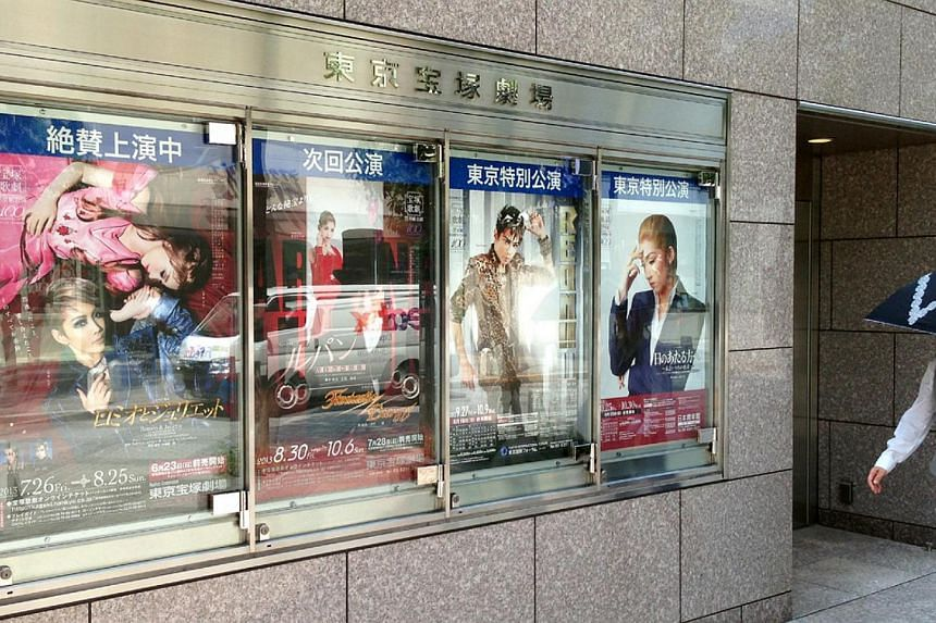 A panel outside the Tokyo Takarazuka Theatre promoting the current show, Romeo and Juliet (far left), as well as upcoming performances by the Revue. -- PHOTO: KWAN WENG KIN