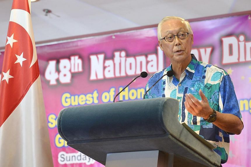 Senior Minister Goh Chok Tong giving a speech at the Marine Parade National Day Dinner 2013. Singaporeis at a turning point and needs to change to avert a mid-life crisis, Emeritus Senior Minister Goh Chok Tong said yesterday, in a speech that