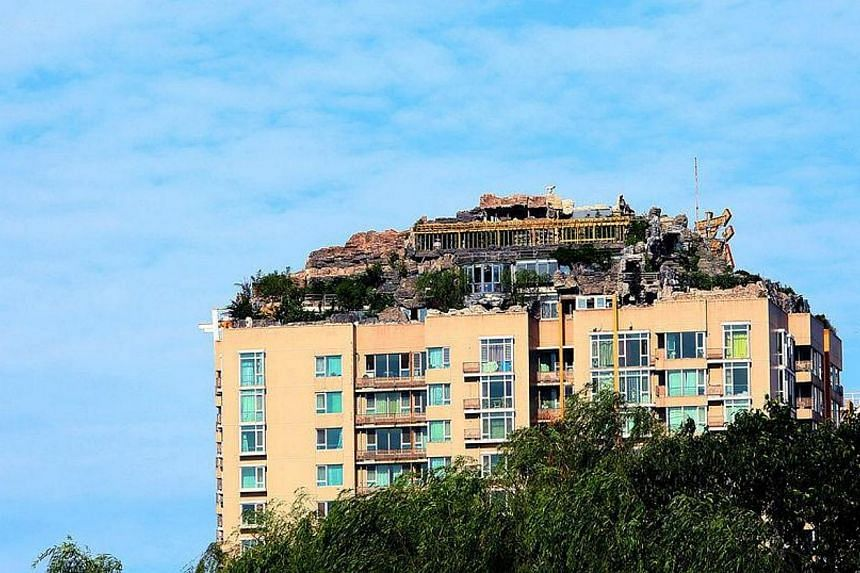 A Beijing resident has built a huge house among what looks like a pile of rocks dotted with trees on top of a 26-storey apartment block in the capital. -- PHOTO: SINA WEIBO
